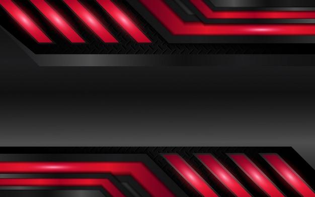 Fondo abstracto de formas metálicas rojas y negras