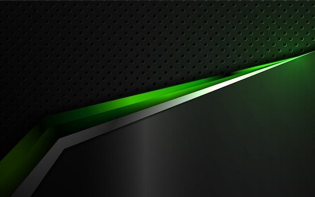 Fondo abstracto de formas metálicas verdes y negras