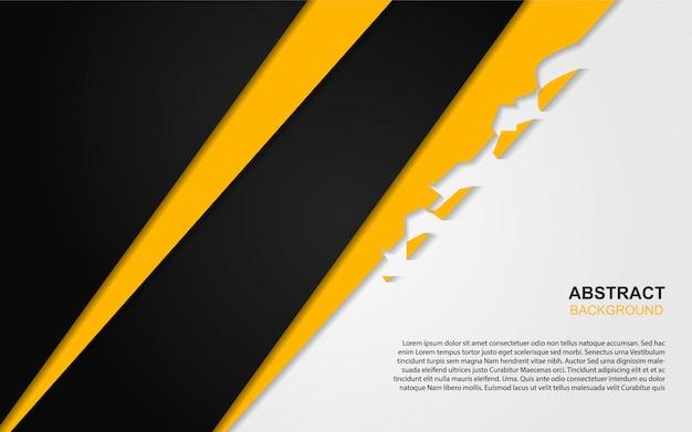 Fondo abstracto de formas mínimas de papel negro y amarillo