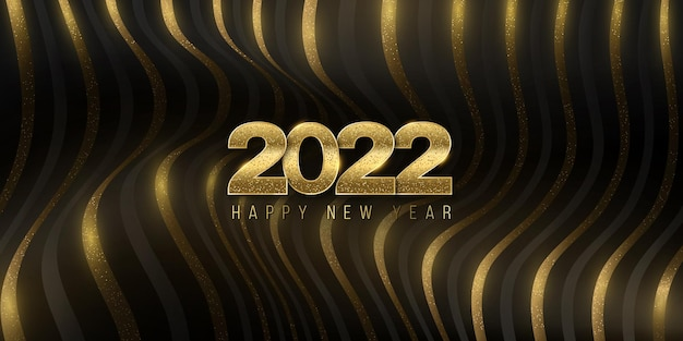 Fondo abstracto de formas de onda 3d para el diseño de año nuevo 2022. portada elegante, elegante y festiva. rayas doradas, lujosas, dinámicas, brillantes y onduladas para su proyecto. ilustración vectorial