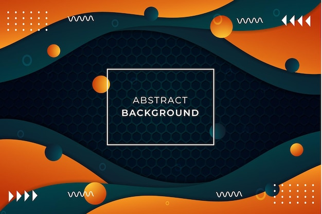 Fondo abstracto con formas orgánicas de color naranja, cian oscuro, adornos, bolas, resplandor y luces