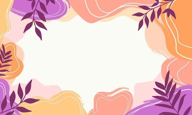 Fondo abstracto de formas orgánicas en colores pastel con texturas de hojas, estilo de memphis