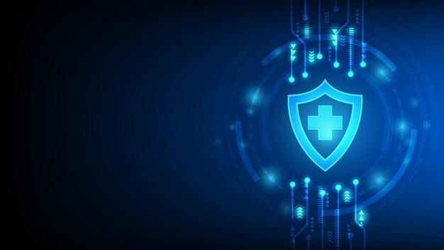 Fondo abstracto futurista médico y sanitario