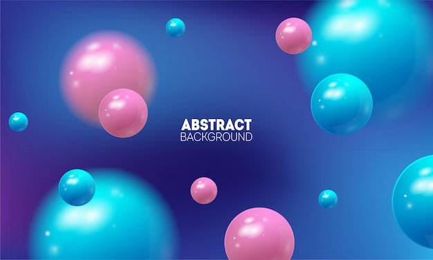 Fondo abstracto futurista con volar bolas 3d. ilustración de vector de esferas brillantes.