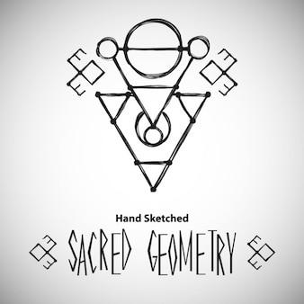 Fondo abstracto con geometría sagrada dibujada a mano