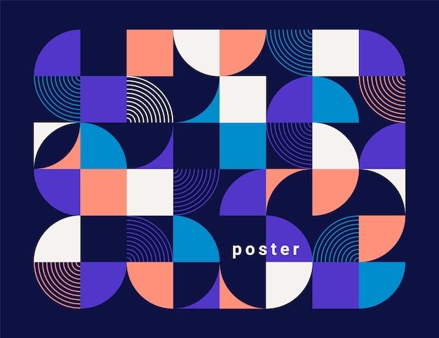 Fondo abstracto geométrico. círculos de colores, cuadrados y otras formas. estilo plano de moda.