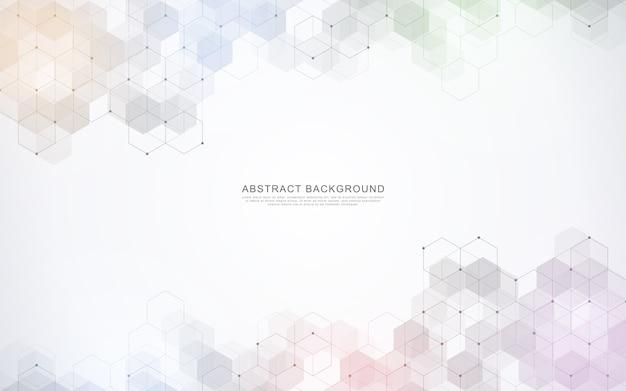 Fondo abstracto geométrico con elementos hexagonales simples
