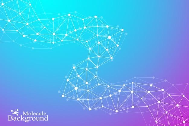 Fondo abstracto geométrico con puntos y líneas conectadas. estructura molecular de adn o composición de neuronas. ilustración vectorial.