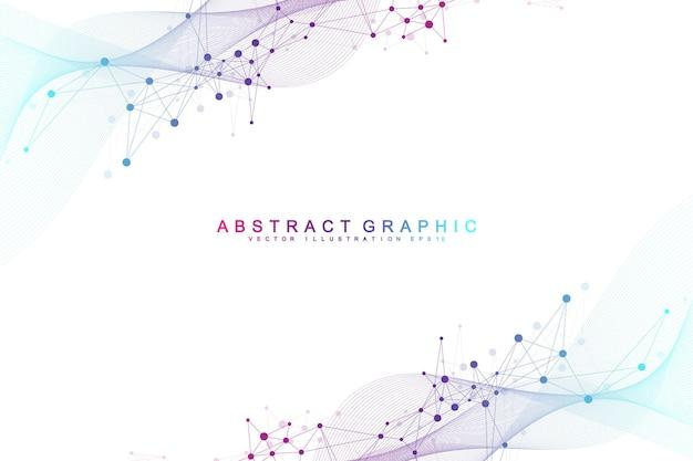 Fondo abstracto geométrico con puntos y líneas conectadas. punto de flujo de conectividad. fondo de molécula y comunicación. fondo de conexión gráfica para su diseño. ilustración vectorial.