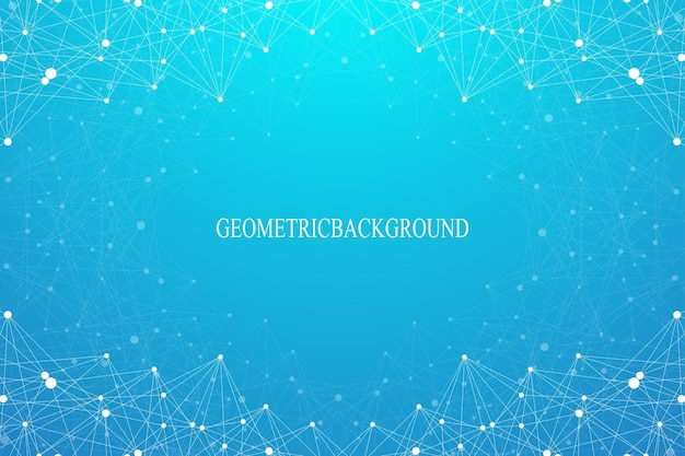 Fondo abstracto geométrico con puntos y líneas conectadas. telón de fondo gráfico para su diseño. ilustración vectorial.
