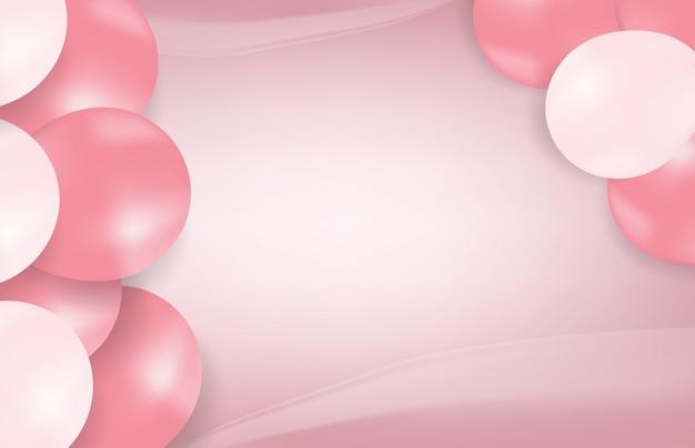 Fondo abstracto de globos de color rosa, dulce fiesta de cumpleaños