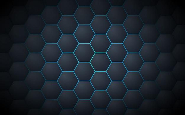 Fondo abstracto gris oscuro del modelo del hexágono