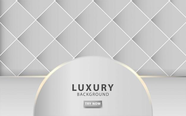 Fondo abstracto gris plata moderno de lujo con línea dorada efecto de luz realista sobre fondo cuadrado gris texturizado. plantilla digital,.