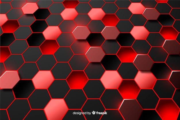 Fondo abstracto de hexágono rojo y negro