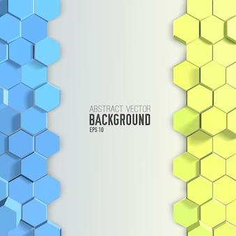 Fondo abstracto con hexágonos azules y amarillos