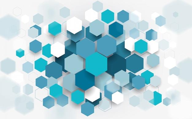 Fondo abstracto de hexágonos azules y blancos