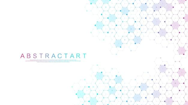 Fondo abstracto con hexágonos, líneas, puntos.