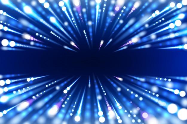 Fondo abstracto hiperespacial de movimiento de hiperespelo de luces de neón azul