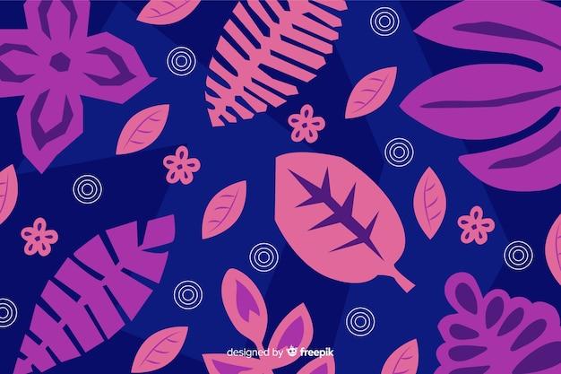 Fondo abstracto hojas tropicales dibujadas a mano