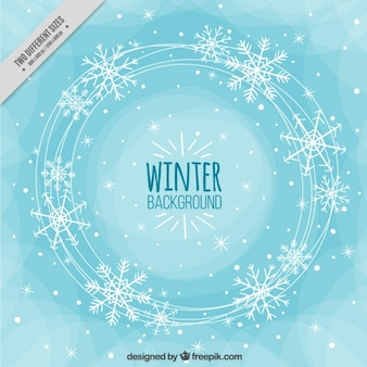 Fondo abstracto de invierno con copos de nieve