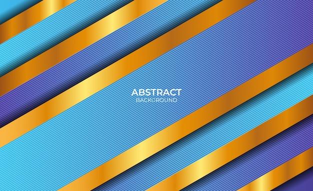 Fondo abstracto de línea azul y oro de lujo
