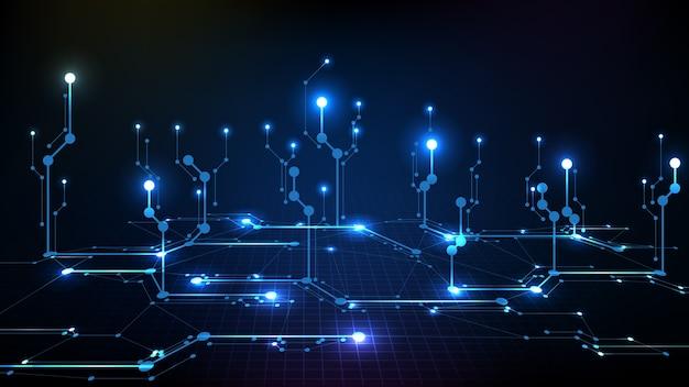Fondo abstracto de línea de circuito electrónico azul oscuro digital futurista