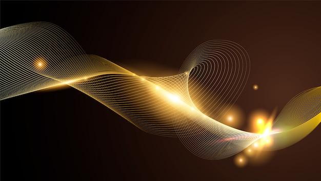 Fondo abstracto de línea dorada