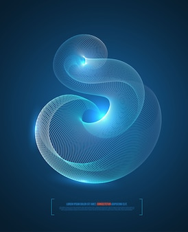Fondo abstracto con líneas azules ola