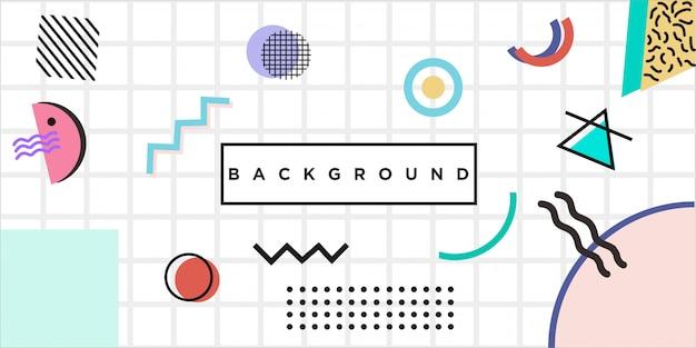 Fondo abstracto de líneas de cuadrícula en estilo memphis