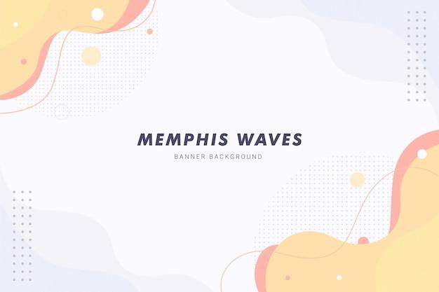 Fondo abstracto líquido de ondas de memphis naranja pastel para diseño de plantilla de banner de folleto flyer
