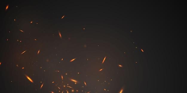 Fondo abstracto de llamas de fuego realista de chispas al rojo vivo