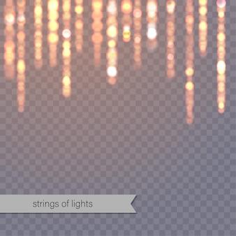 Fondo abstracto con luces brillantes. colgando cadenas de luces