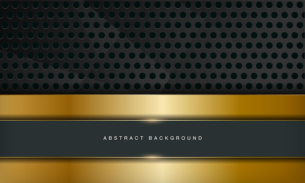 El fondo abstracto de lujo verde se combina con el elemento de líneas doradas y el patrón de círculo
