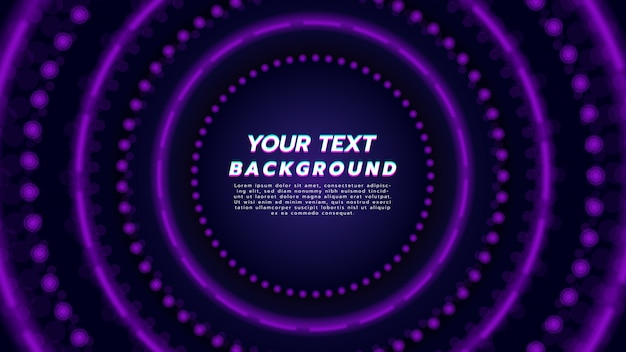Fondo abstracto con la luz de neón púrpura en la disposición del círculo. tecnología y concepto de música moderna.