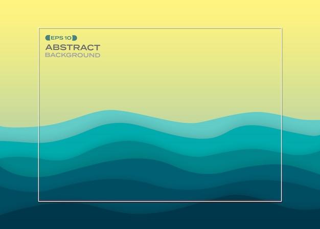 Fondo abstracto del mar del verano del corte del papel azul.