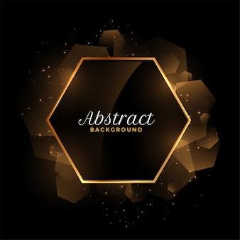 Fondo abstracto marco dorado y negro hexagonal