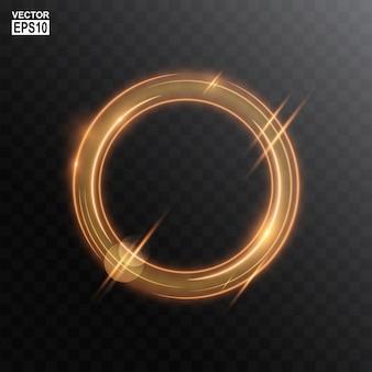 Fondo abstracto del marco de la luz del círculo de oro