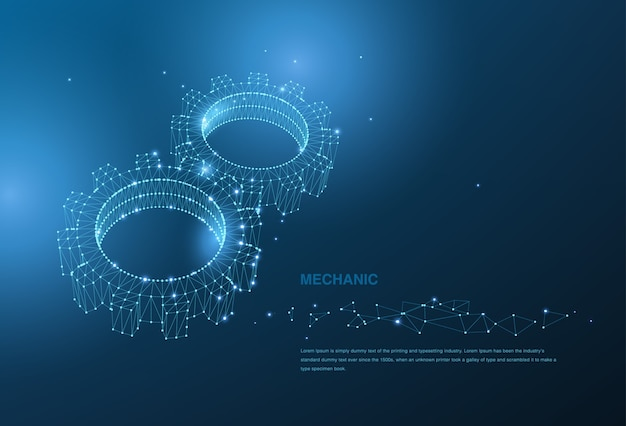 Fondo abstracto del mecanismo poligonal del engranaje