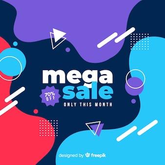 Fondo abstracto mega venta con elementos de memphis