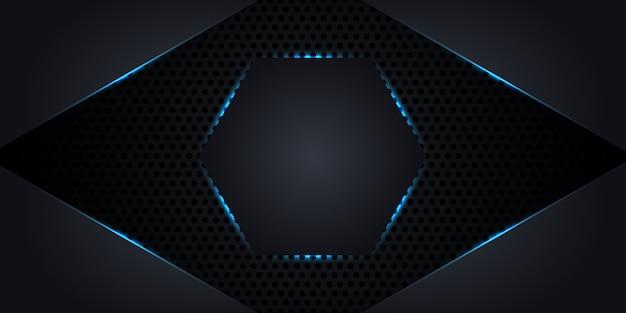 Fondo abstracto de metal oscuro con un hexágono en el centro con luces de neón y líneas luminosas.
