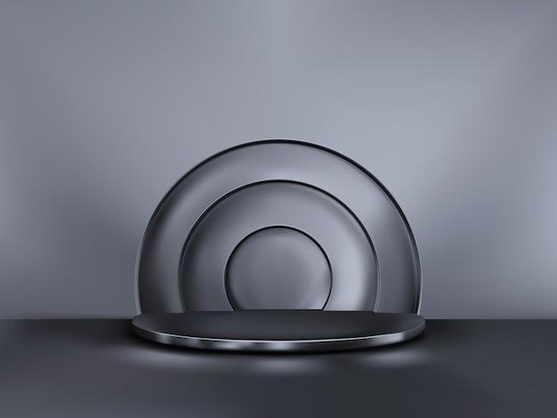 Fondo abstracto de minimalismo con un pedestal. escenario negro vector 3d. podio para espectáculo.