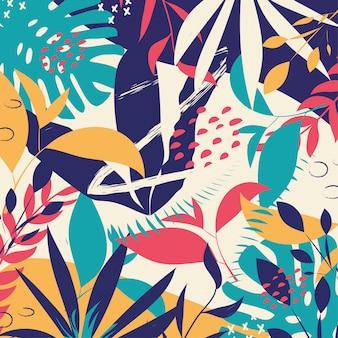 Fondo abstracto de moda con coloridas hojas tropicales y flores
