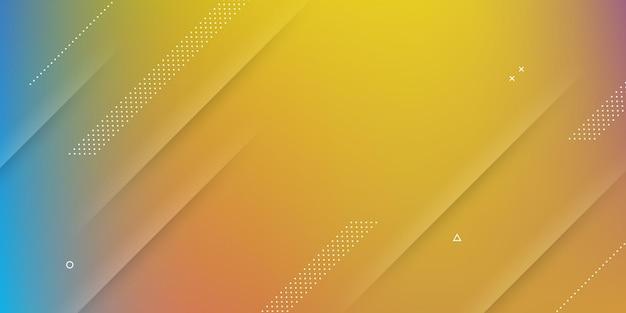 Fondo abstracto moderno con efecto de desenfoque, vibrantes colores del arco iris y elementos de memphis.