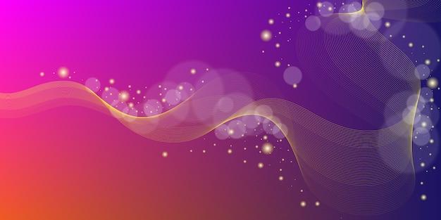 Fondo abstracto moderno con elementos de línea ondulada y partículas de efecto de desenfoque brillante.