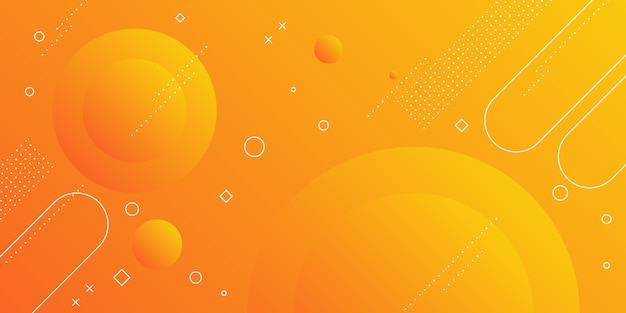 Fondo abstracto moderno con elementos de memphis en gradientes amarillos y naranjas y temas retro para carteles, pancartas y páginas de inicio del sitio web.