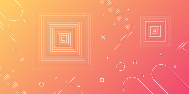 Fondo abstracto moderno con elementos de memphis en gradientes rojos y naranjas y temas retro para carteles, pancartas y páginas de inicio del sitio web.