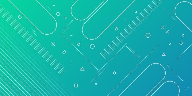 Fondo abstracto moderno con elementos de memphis en gradientes verdes y azules y temas retro para carteles, pancartas y páginas de inicio del sitio web.