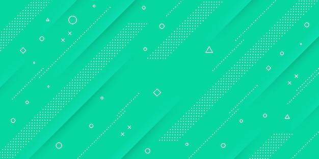Fondo abstracto moderno con elementos de memphis y papercut y colores pastel verdes con temas retro para carteles, pancartas y páginas de inicio de sitios web.
