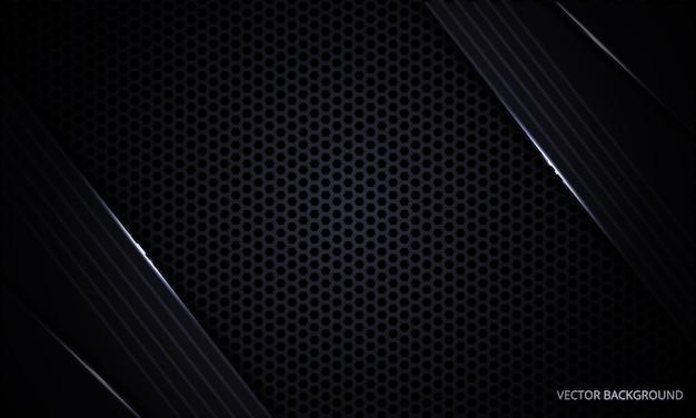 Fondo abstracto moderno negro con rejilla de fibra de carbono hexagonal y líneas de luz.