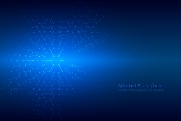 Fondo abstracto de la molécula hexagonal, sistema de compuestos genéticos y químicos.